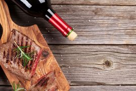 Grilled beef steak and wine