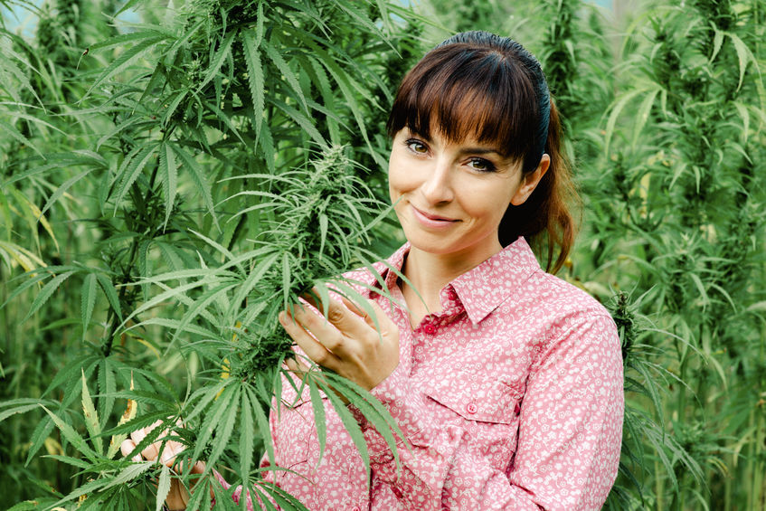 woman with weed